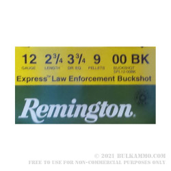 "25 Rounds of 12ga Ammo by Remington Express LE - 2-3/4""  00 Buck"