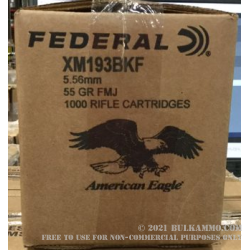 5.56x45 - 55 gr FMJBT XM193 - Federal - 1000 Rounds Loose