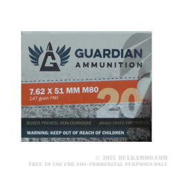 20 Rounds of 7.62x51mm Win Ammo by Guardian Ammunition - 147gr FMJ