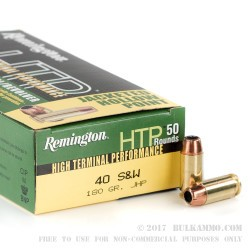 50 Rounds of .40 S&W Ammo by Remington - 180gr JHP