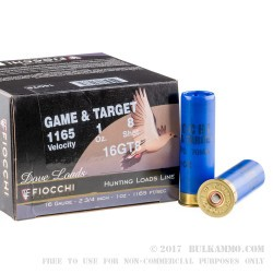 25 Rounds of 16ga Ammo by Fiocchi - 1 ounce #8 shot