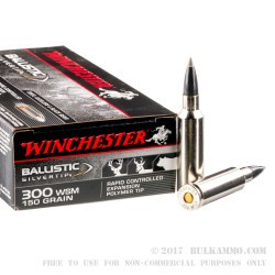20 Rounds of .300 Win Short Mag Ammo by Winchester Ballistic Silvertip- 150gr Polymer Tipped