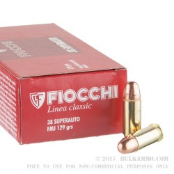 50 Rounds of .38 Super Ammo by Fiocchi - 129gr FMJ