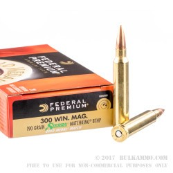 200 Rounds of .300 Win Mag Ammo by Federal Gold Medal - 190gr HPBT