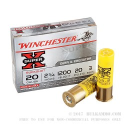 "250 Rounds of 20ga Ammo by Winchester Super-X- 2-3/4"" #3 Buck"