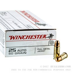 50 Rounds of .25 ACP Ammo by Winchester - 50gr FMJ