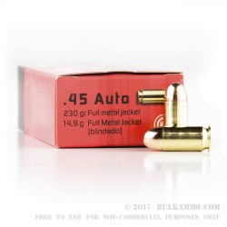 50 Rounds of .45 ACP Ammo by GECO - 230gr FMJ