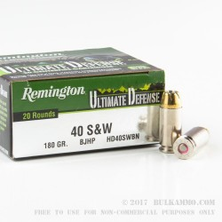 20 Rounds of .40 S&W Ammo by Remington Ultimate Defense - 180gr JHP