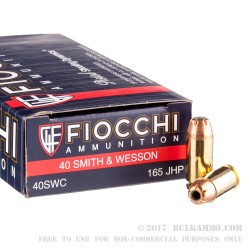1000 Rounds of .40 S&W Ammo by Fiocchi - 165gr JHP