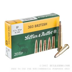 20 Rounds of .303 British Ammo by Sellier & Bellot - 180gr SP