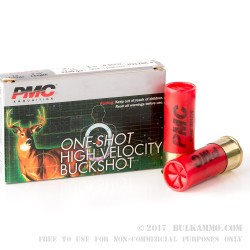 """5 Rounds of 12ga Ammo by PMC - 2-3/4"""" 1 1/4 ounce #4 Buck"""