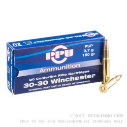 500  Rounds of 30-30 Win Ammo by Prvi Partizan - 150gr FSP