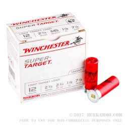 """250 Rounds of 12ga Ammo by Winchester Super-Target - 2-3/4"""" 1 1/8 ounce #7 1/2 shot"""