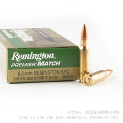 20 Rounds of 6.8 SPC Ammo by Remington - 115gr MatchKing HPBT
