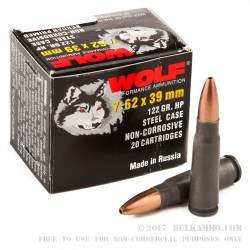 1000 Rounds of 7.62x39mm Ammo by Wolf - 122gr HP