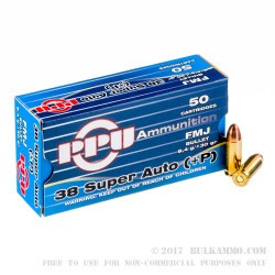 50 Rounds of .38 Super +P Ammo by Prvi Partizan - 130gr FMJ