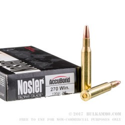 20 Rounds of .270 Win Ammo by Nosler Trophy Grade Ammunition - 130gr Accubond Polymer Tipped