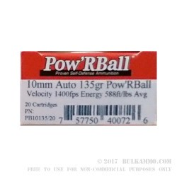 20 Rounds of 10mm Ammo by Corbon - 135gr PowR Ball