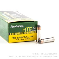 50 Rounds of .38 Spl +P Ammo by Remington HTP - 125gr SJHP
