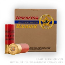 5 Rounds of 12ga Ammo by Winchester Ranger - 00 Buck 8 Pellets Low Recoil