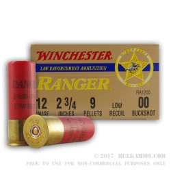 250 Rounds of 12ga Low Recoil Ammo by Winchester Ranger -  00 Buck
