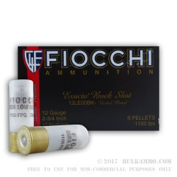 250 Rounds of 12ga LE Ammo by Fiocchi -  00 Buck
