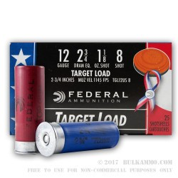 25 Rounds of 12ga Wounded Warrior Ammo by Federal Top Gun - 1 1/8 ounce #8 shot