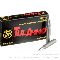 1000 Rounds of .223 Ammo by Tula - 55gr HP
