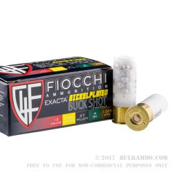"""250 Rounds of 12ga Ammo by Fiocchi - 2-3/4"""" 27 Pellet #4 Buck"""