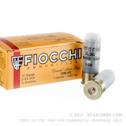 250 Rounds of 12ga Ammo by Fiocchi - 1 ounce Rifled Slug