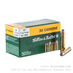 1000 Rounds of .30 Carbine Ammo by Sellier & Bellot - 110gr SP