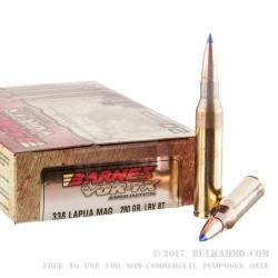 20 Rounds of .338 Lapua Ammo by Barnes VOR-TX - 280 gr LRX Polymer Tipped