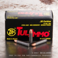1000 Rounds of .30 Carbine Ammo by Tula - 110gr FMJ