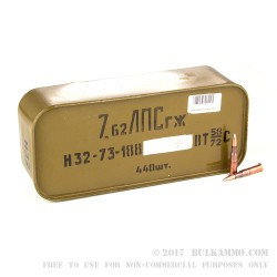 440 Rounds of 7.62x54r Silver Tip Russian Surplus Ammo - 148gr FMJ