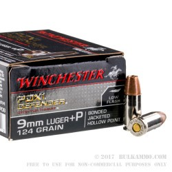 20 Rounds of 9mm +P Ammo by Winchester Supreme Elite Bonded - 124gr JHP