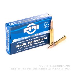 500 Rounds of 30-06 Springfield M1 Garand Ammo by Prvi Partizan - 150gr FMJ