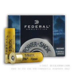 5 Rounds of 20ga Ammo by Federal -  #3 Buck