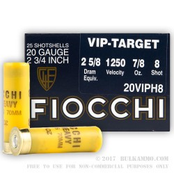 25 Rounds of 20ga Ammo by Fiocchi - 7/8 ounce #8 shot