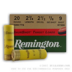 25 Rounds of 20ga Target Ammo by Remington - 7/8 ounce #9 Lead Shot