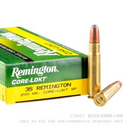 20 Rounds of 35 Remington Ammo by Remington Core-Lokt - 200gr SP