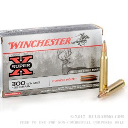 20 Rounds of .300 Win Mag Ammo by Winchester Super-X - 180gr PP