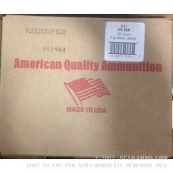 500 Rounds of Reloaded .223 Ammo by American Quality Ammunition - 55gr FMJ