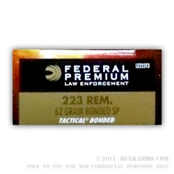 20 Rounds of .223 Ammo by Federal Law Enforcement - 62gr Bonded SP