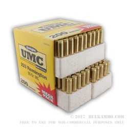 200 Round Mega Pack of .223 Ammo by Remington - 55gr MC