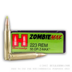 200 Rounds of .223 Ammo by Hornady - 55gr Zombie Z-Max
