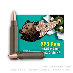 20 Rounds of .223 Ammo by Brown Bear - 62gr HP