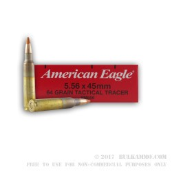 20 Rounds of 5.56x45 XM856 Tracer Ammo by Federal - 64gr FMJ