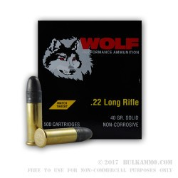 500  Rounds of .22 LR Ammo by Wolf Match Target - 40gr LRN