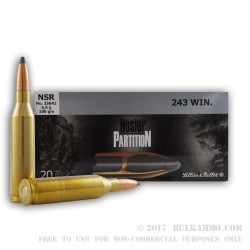 20 Rounds of .243 Win Ammo by Sellier & Bellot - 100gr Nosler Partition