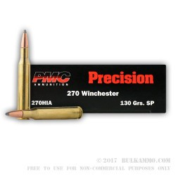 20 Rounds of .270 Win Ammo by PMC - 130gr SP Interlock